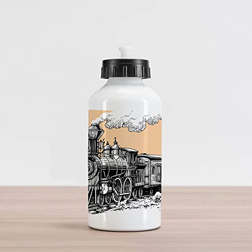 (Ambesonne Steam Engine Aluminum Water Bottle, Vintage Wooden Train Rail Wild West Wagon in Countryside Drawing Effect Artsy, Aluminum Insulated Spill-Proof Travel Sports Water Bottle, Peach White)