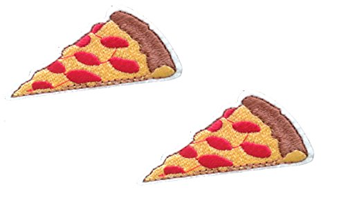 2 small pieces PIZZA SLICE Iron On Patch Fabric Applique Italian Food Motif Children Decal 2.2 x 1 inches (5.5 x 2.5 cm) (In Italian 1)
