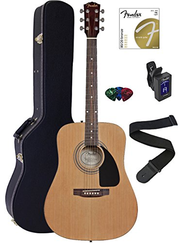Fender FA-100 Dreadnought Acoustic Guitar Bundle with Hard Case, Stand, Tuner, Strap, Picks, and Strings - Natural