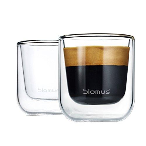 Blomus 63652 2 Espressogläser, Edelstahl, silber, 7.6 x 11.4 x 17.4 cm