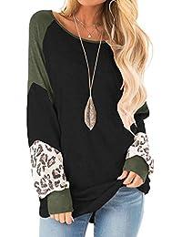 Womens Color Block Pullover Leopard Print Sweatshirt Raglan Long Sleeve Loose Tunic Shirts Tops