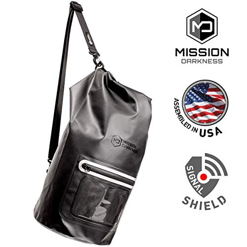 (Mission Darkness Dry Shield Faraday Tote 15L. Waterproof Dry Bag for Electronic Device Security & Transport/Signal Blocking/Anti-Tracking/EMP Shield/Data Privacy for Phones, Tablets, Laptops )