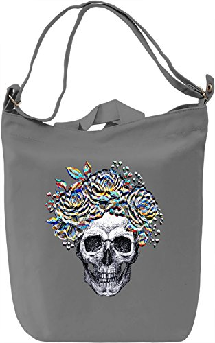 Skull With Flowers Crown Borsa Giornaliera Canvas Canvas Day Bag| 100% Premium Cotton Canvas| DTG Printing|