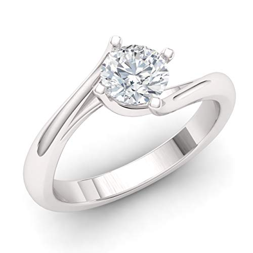 Diamondere Natural and IGI Certified Diamond Solitaire Engagement Ring in 14k White Gold | 0.45 Carat Ring for Women, US Size 7
