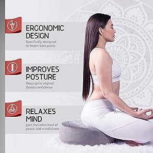 Florensi Meditation Cushion (16″x16″x5″), Large Velvet Meditation Pillow, Premium Yoga Pillow for Women and Men, Yoga Cushion, Meditation Pillows for Sitting on Floor, Buckwheat Meditation Cushions