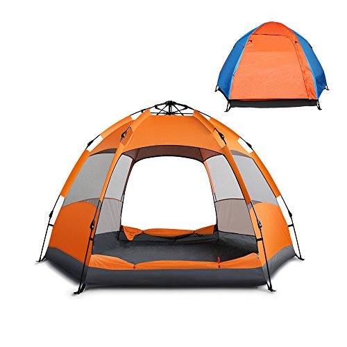 Automatic 4-5 People Outdoor Camping Tent (Orange +Blue) - 6