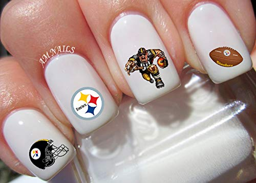 Pittsburgh Steelers Water Nail Art Transfers Stickers Decals - Set of 46 -