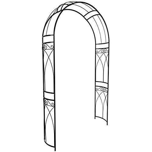 OUTOUR Stereoscopic Metal Garden Arch Arbor Arbour Archway with Graceful Curve for Climbing Plants Roses Vines, Outdoor Garden Lawn Backyard Patio, Wedding, Black