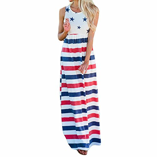 Sash Bandeau - Casual Womens Five-Pointed Star Stripe Independence Strapless Sleeveless Bandeau Long Dress (M, Blue)