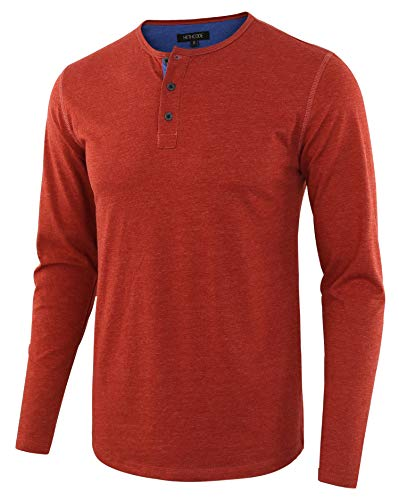 HETHCODE Men's Classic Comfort Soft Regular Fit Long Sleeve Henley T-Shirt Tee H.Rusty/H.Blue M