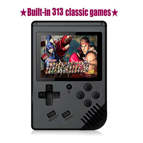 Huongoo Handheld Game Console, Portable Video Game 3 Inch HD Screen 313 Classic Games,Retro Game Console Can Play on TV, Good Gifts for Kids to Adult. (Black)