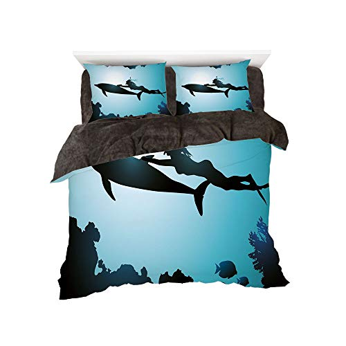 - Comfortable Bed Sheet Set with Bedding Pillow Case Cover for Bed Width 6ft Pattern by,Dolphin,Scuba Diver Girl Swimming with Dolphin Silhouette in Sea Fish Reefs Image,Pale Blue Black