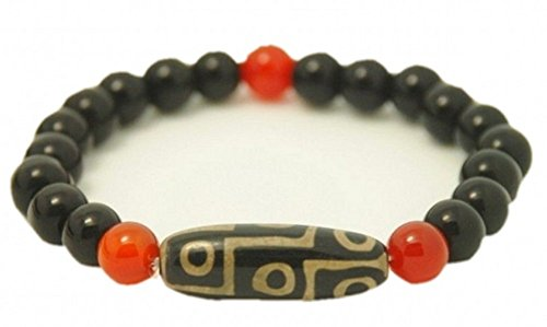 Big Stretchy 9-eye Agate dZi Beads Beaded Bracelet-CLEANSE NEGATIVE ENERGY