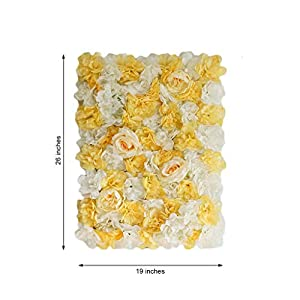BalsaCircle 4 pcs White Champagne Assorted Silk Flowers Wall Backdrop Panels - Wedding Party Vertical Garden Wall Hedge Decorations Supplies 2