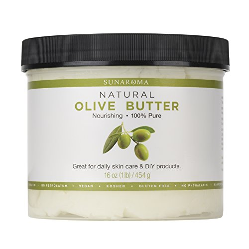 Sunaroma Natural Olive Butter (16 oz) - Rich in Vitamins A and E, Olive Oil Body Butter Moisturizes Dry Skin and Soothes Sunburn - Helps Keep Hair Healthy and Tame - Great for DIY Projects
