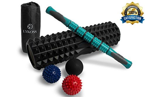Lykoss 7-In-1 18″ X-Large High Density Foam Roller Package, Long Muscle Roller Stick, 3 Type Massage Balls, XL Bag by Set For Trigger Level, Yoga Myofascial Launch, Deep Tissue, Back Physical Therapy – DiZiSports Store