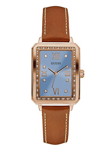 GUESS Women's U0841L2 Dressy Rose Gold-Tone Watch with Blue Dial , Crystal-Accented Bezel and Genuine Leather Strap Buckle