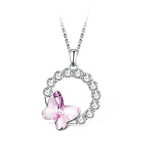 (T400 Blue Purple Pink Butterfly Crystal Pendant Necklace ♥ Birthday Gift for Girls Women)
