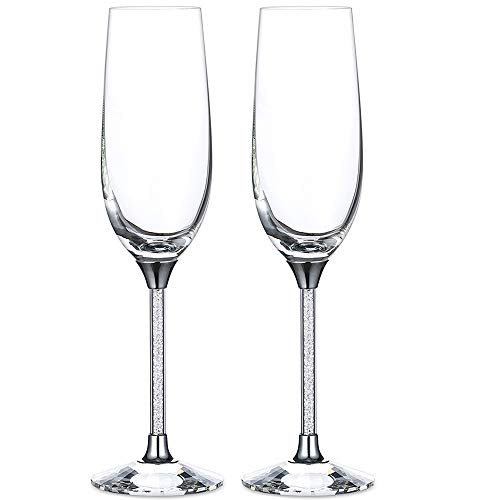Silver Champagne Flutes - Crytstal Base & Rhinestones Fittings Wedding Glasses For Bride & Groom Toasting Cups Gift Sets for Couples Engagement, Anniversary, House Warming (Silver, Style2)