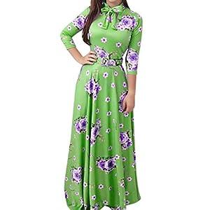 FEDULK Womens Plus Size Long Maxi Dress Floral Print Bow Tie Dinner Evening Party Cocktail Dress