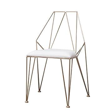 C&L Metallstuhl, Make-up Stuhl Wohnzimmer Restaurant Stuhl Kreative Openwork Stuhl Gold Stuhl Grö ß e 43 * 52 * 87 cm (Farbe : A) CaoLei