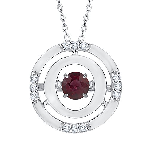 (KATARINA Diamond and Moving Ruby Fashion Pendant Necklace in 14K White Gold (1/2 cttw, J-K, SI2-I1))