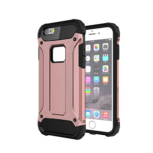 UKCOCO Heavy Duty Slim Shell duro de protección contra impactos parachoques rugoso híbrido de doble capa de armadura de protección contra la parte posterior de la caja a prueba de golpes para el iPhon Oro rosa