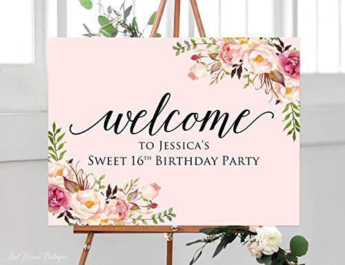Sweet 16 Birthday Welcome Sign, Blush Pink Welcome Sign, Birthday Welcome Sign, Welcome to Sweet Sixteen Birthday Sign, -