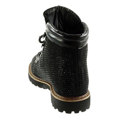 Angkorly - Zapatillas de Moda Botines biker - motociclistas mujer strass zapato acolchado acabado costura pespunte Talón Tacón ancho 2.5 CM Negro