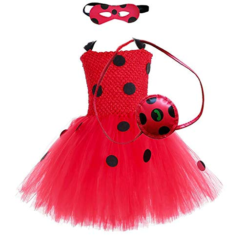 MOCUER Halloween Superhero Ladybug Costume for Baby Girls Birthday Party Supergirl Tutu Dress Size 4 Red