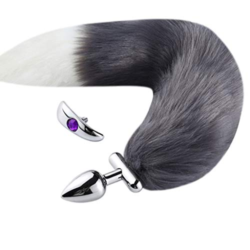 Kismet168 Stainless Steel Fox Tail Amal Adult Six-Toys for Men Women Amal Plug (Gray)
