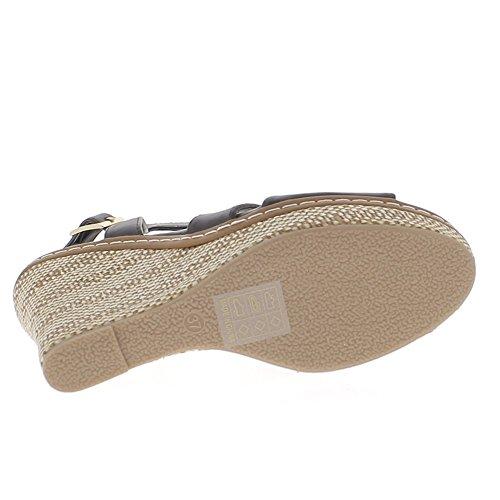 Negro tacón cuña de cuero de sandalias 11 cm