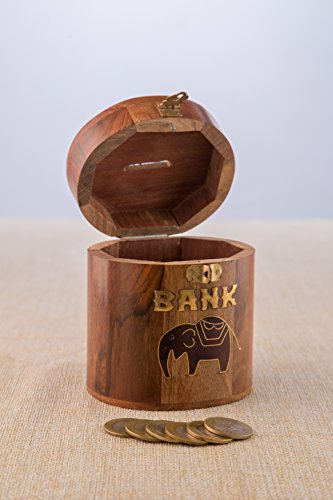 Traditional Piggy Bank - Rusticity Indian Handmade Traditional Wooden Elephant Designed Piggy Bank/ Handcrafted Sheesham Decorative Money Saving Jar for Kids, Adults, Boy & Girl Child, 4 x 4 in