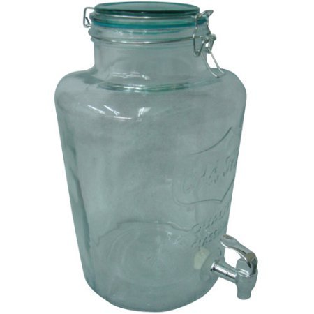 Beverage Dispenser Round Clear Glass With Color Lid, Aqua