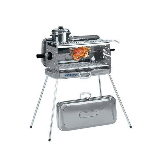 Berger 3-Flammen Koffer-Gasgrill silber, 30 mbar, inkl. Grillspieß mit 2 Fleischklammern, Grillrost, 3 Kochstellen