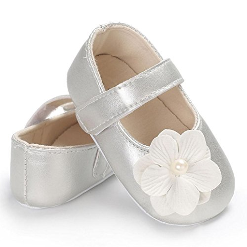 WOCACHI Baby Girls Shoes Flowers Soft Sole Crib Shoes for Toddler Newborn Infant Kids Girl Back to School Clearacne Sale Deal Silver