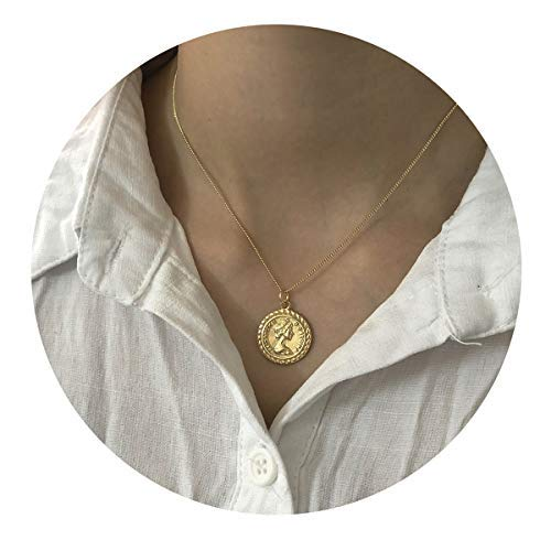 VACRONA Gold Coin Pendant Necklaces,18K Gold Filled Dainty Elizabeth Ⅱ Queen British Engraved Disc Vintage Pendants Necklaces Minimalist Jewelry for Women