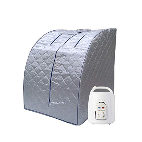 Pettyios Home Steam Sauna Kit, Full Body Sauna Tent with Sauna Steamer Used As Portable Far Infrared SPA Box for Weight Loss, Detox, Relaxation at Home (Silver)