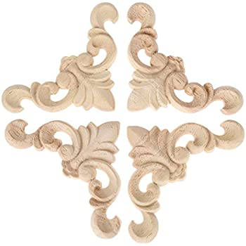 4pcs 8x8x0.8cm Oak Wood Carved Furniture Corner Onlay Applique Unpainted Home Decor