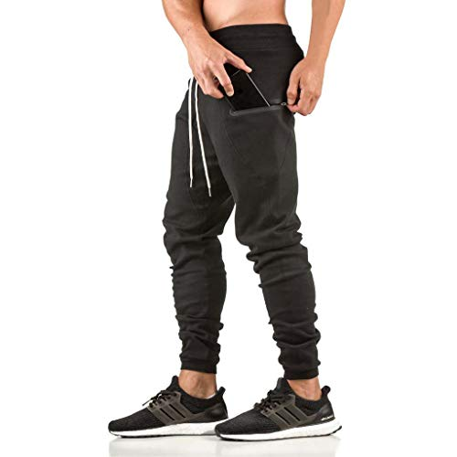 (EVERWORTH Men's Sidelock Workout Jogger Pants - Casual Gym Bodbuilding Pant Fitness Running Trousers with Zipper Pockets Black L tag XXL)