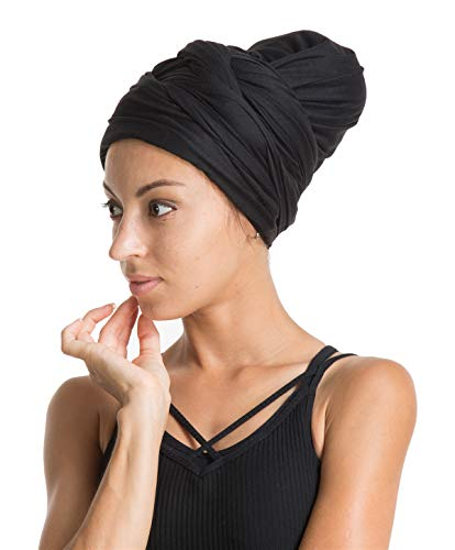 Turban Hat Headband Head Wrap - Black Magic Jersey Turbans HeadWrap Chemo Cap Tube Scarf Tie Hijab For Hair Muslim bohemian boho Black African Women ()