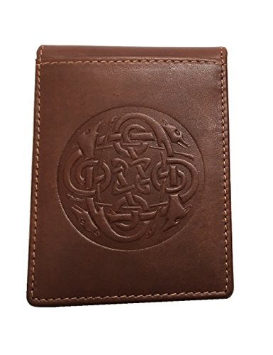Biddy Murphy Celtic Money Clip & Wallet Genuine Leather Brown Made in Ireland (Celtic Money Clip)