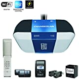 Chamberlain B1381 Bright LED Lighting Smartphone-Controlled Ultra-Quiet & Strong Belt Drive Garage Door Opener with Battery Backup & Max Lifting Power, 1.25 hp, Blue