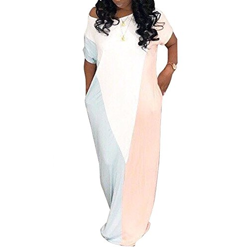 Ru Sweet Women Summer One Shoulder Short Sleeves Color Block Loose Long Maxi Dress with (Color Block Short Sleeve Dress)