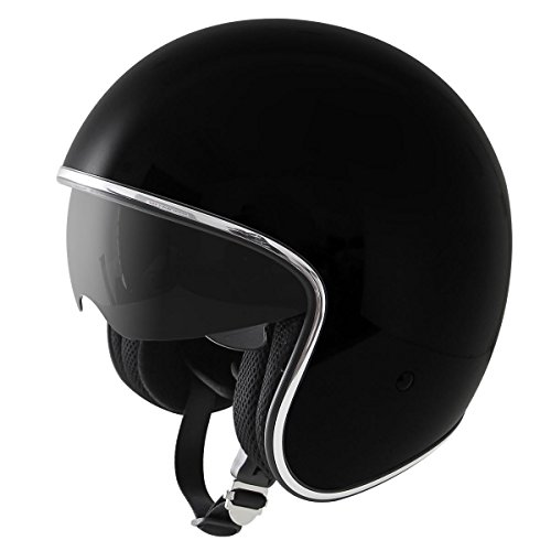 Outlaw Open Face (Outlaw V5 Glossy Black with Visor Open Face Helmet -)