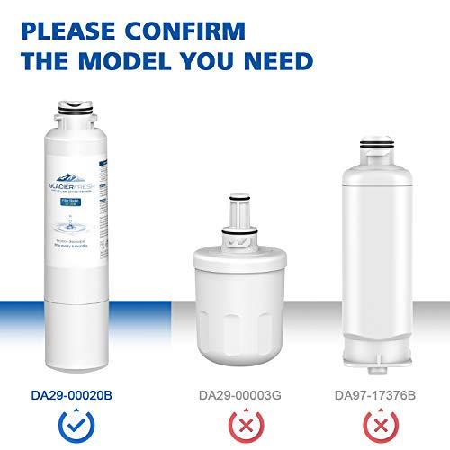 GLACIER FRESH DA29-00020B Refrigerator Water Filter Replacement Samsung DA29-00020B HAF-CIN/EXP For French Door Fridge Kitchen By Samsung (3 PACK)