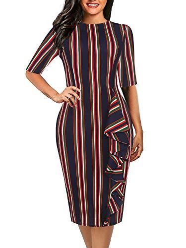 oxiuly Women's Chic Stripe Stretchy Work Business Casual Dresses Bodycon Sheath Pencil Dress OX055 (S, Blue Stripe)