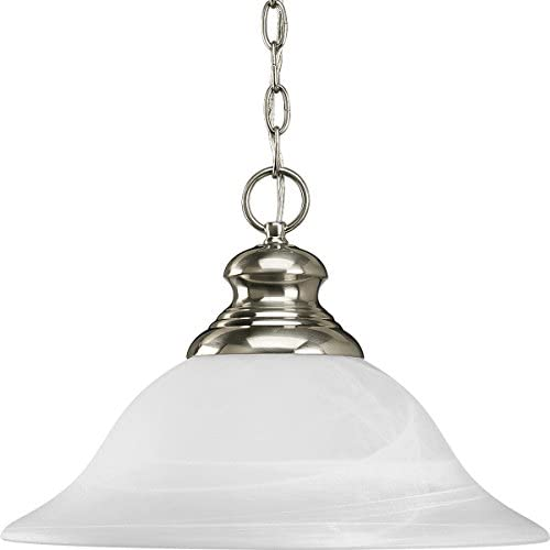Progress Lighting P5090-09 1-Light Pendant with Etched Alabaster Style Glass, Brushed Nickel