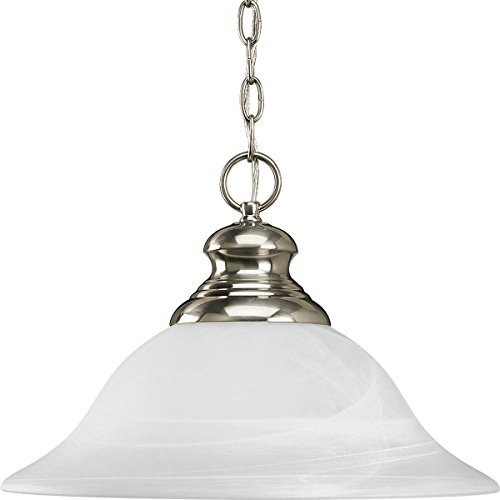 (Progress Lighting P5090-09 1-Light Pendant with Etched Alabaster Style Glass, Brushed Nickel)