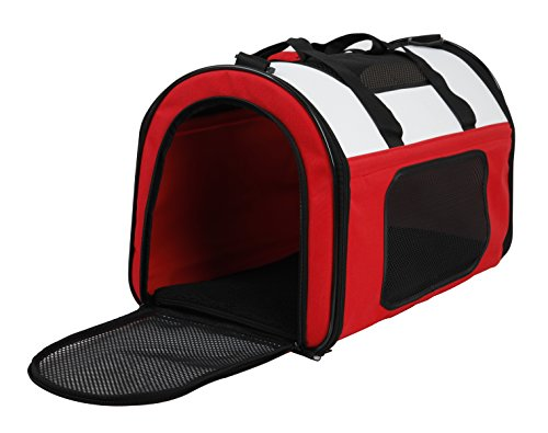 Captain Pet Soft Siede Pet Travel Portable Carrier Light Weight Bag for Dogs, Cats and Puppies (Red,L:19.69L11.81W12.60H inch)